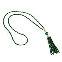 Latelita London Jade Tassel Necklace White Cz Gold Green