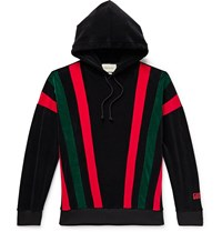 Gucci Striped Cotton Blend Chenille Hoodie Black