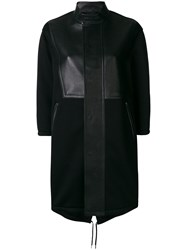Neil Barrett Leather Panelled Single Breasted Coat Black