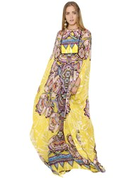 Roberto Cavalli Printed Silk Chiffon Caftan Dress