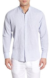 Men's Toscano Contemporary Fit Stripe Linen And Cotton Sport Shirt