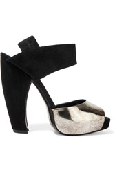 Donna Karan New York Metallic Leather And Suede Sandals Black