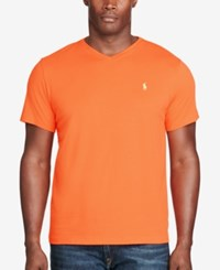 Polo Ralph Lauren Men's Big And Tall Classic Fit V Neck Short Sleeve Cotton Jersey T Shirt Orange