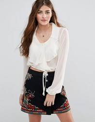 Band Of Gypsies Ruffle Front Blouse Cream