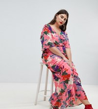 Lost Ink Plus Maxi Kimono Sleeve Maxi Dress In Oversized Floral Print Pink Multi