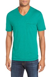 Original Penguin 'Bing' Pocket V Neck T Shirt Ultramarine Green