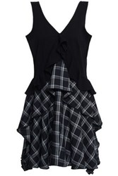 Opening Ceremony Paneled Checked Twill And Jersey Mini Dress Black