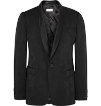 Dries Van Noten Black Slim Fit Wool Blend Jacquard Tuxedo Jacket Black