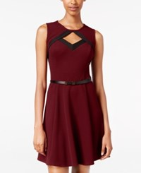 Amy Byer Bcx Juniors' Belted Cutout Fit And Flare Dress Red