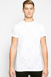 Boohoo Burnout Destroyed T Shirt With Scoop Hem White