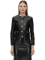 Gucci Croc Embossed Leather Jacket Black