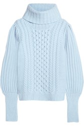 Temperley London Shade Cable Knit Merino Wool Turtleneck Sweater Lilac