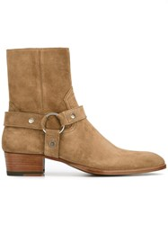 Saint Laurent 'Wyatt 40' Harness Boots Nude Neutrals