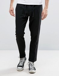 Sisley Cropped Trouser In Tapered Fit With Pleats Black 100