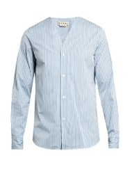 Marni Striped V Neck Cotton Poplin Shirt Blue White