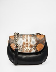 Mango Double Fold Over Snake Print Saddle Bag Black