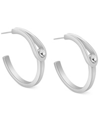 T Tahari Crystal Loop Hoop Earrings Silver