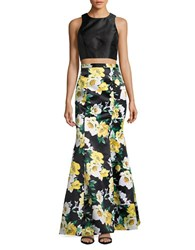 Xscape Evenings Cropped Top And Skirt Set Black Yellow