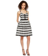 Jessica Simpson Striped Party Dress Js7a9599 Ivory Black Multi