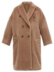 Brunello Cucinelli Double Breasted Wool Blend Coat Light Brown