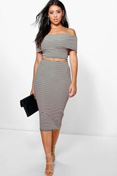 Boohoo Ribbed Stripe Off The Shoulder Top Midi Skirt Black