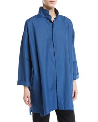 Eskandar Slim A Line Button Front Blouse Blue