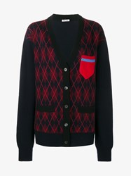 Miu Miu Wool Argyle Knit Cardigan Navy Multi Coloured Blue Black