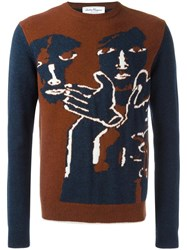Salvatore Ferragamo Patterned Jumper Brown