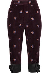 Maison Martin Margiela Cropped Embroidered Velvet Straight Leg Pants Burgundy