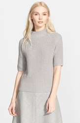 Theory 'Jodi' Cotton And Cashmere Short Sleeve Sweater Cool Heather
