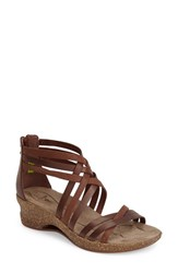 Women's Ahnu 'Trolley' Leather Wedge Sandal Brandy
