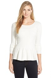 Women's Cece By Cynthia Steffe Pointelle Ribbed Peplum Sweater