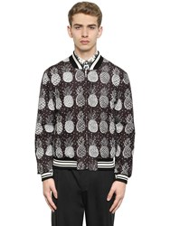 Dolce And Gabbana Pineapple Printed Nylon Bomber Jacket