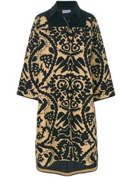 Red Valentino Printed Wide Sleeve Coat Polyester Viscose Black