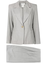 Yves Saint Laurent Vintage Pinstriped Skirt Suit Grey