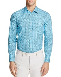 Canali Floral Regular Fit Button Down Shirt Turquoise