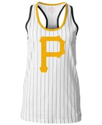 5Th And Ocean Women's Pittsburgh Pirates Pinstripe Glitter Tank Top White