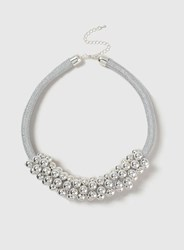 Dorothy Perkins Ball Cluster Rope Necklace Silver