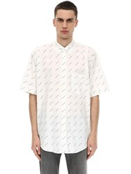 Balenciaga Logo Printed Short Sleeve Shirt White