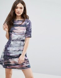 Lavand Abstract Print Shift Dress Unique Multi