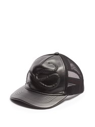 Gucci Snake Embossed Leather Baseball Cap Black