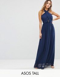 Asos Tall Chiffon Twist Front Ruched Maxi Dress Navy