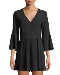 Bebe V Neck Bell Sleeve Crepe Pleated Romper Black