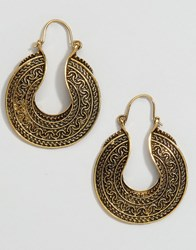 Reclaimed Vintage Grecian Hoop Earrings Gold