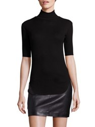 Helmut Lang Cotton Rib Knit Turtleneck Sweater Black