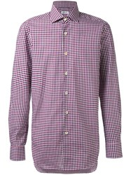 Kiton Fine Check Shirt Men Cotton 38 White