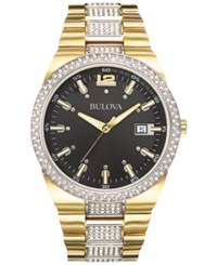 Bulova Men's Crystal Accent Gold Tone Stainless Steel Bracelet Watch 43Mm 98B235