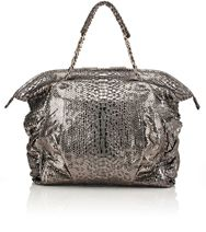 Zagliani Python Christy Medium Shoulder Bag Grey