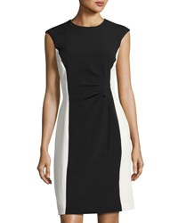 Tahari By Arthur S. Levine Colorblock Sleeveless Crepe Dress Black White