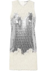 Paco Rabanne Chainmail And Corded Lace Dress Silver